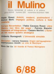 Copertina del fascicolo dell'articolo Impegno politico, cultura e fede cristiana: distinzione nell'unità