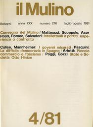 Copertina del fascicolo dell'articolo Misurare i governi: la distribuzione territoriale dei governanti italiani 1948-78